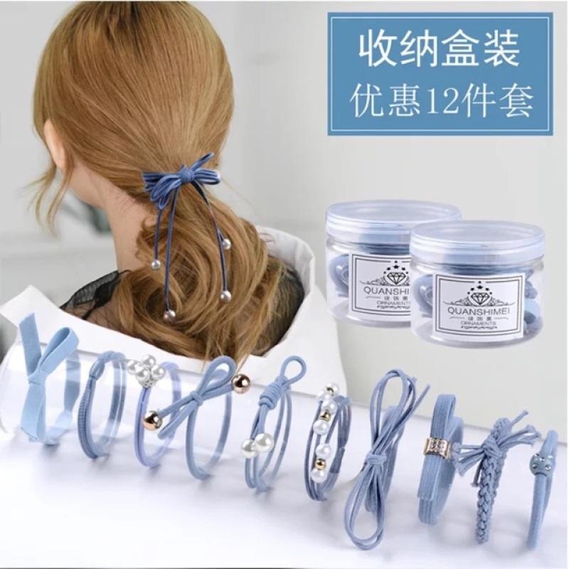 Hộp Nơ buộc tóc- hộp nơ cột tóc 12 cái- combo 3 hộp