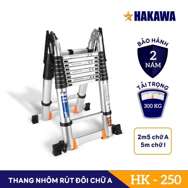 [THANG NHÔM NHẬT BẢN] Thang nhôm rút đôi Cao Cấp ( 5m ) - HAKAWA HK-250 - Thang nhôm chuyên dụng cho gia đình - Bảo hành 2 năm - Đổi trả trong 30 ngày