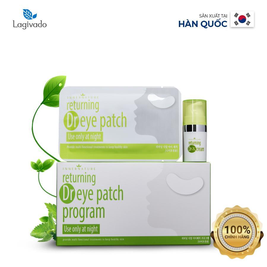 Miếng dán thâm quầng mắt chính hãng Hàn Quốc Lagivado Dr Eye Patch Program giúp giảm nếp nhăn, bọng, thâm mắt  hộp 10 miếng – Màu trắng xanh