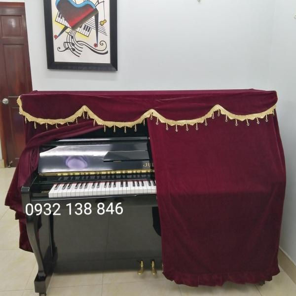 750K KHĂN PHỦ ĐÀN PIANO CƠ VẢI NHUNG ĐỎ,VIỀN VÀNG CÓ HẠT CHÂU SANG TRỌNG