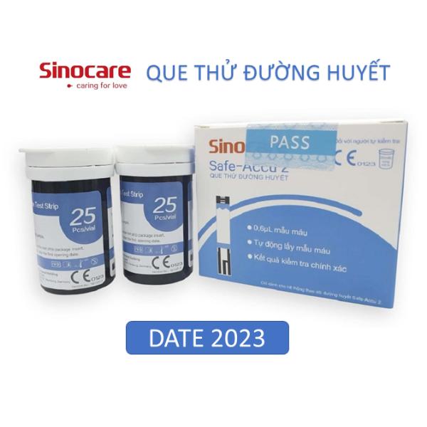 Nơi bán Hộp 50 que thử tiểu đường Safe Accu Sinocare Date 2023 dùng cho máy đo đường huyết