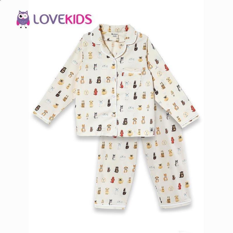 Nơi bán Bộ mặc nhà bé gái - họa tiết chó Lovekids