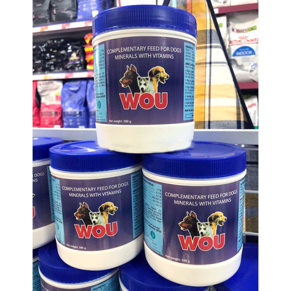 Bột khoáng dinh dưỡng Vitamin WOU 500g Hỗ trợ tăng tiêu hóa, tăng hấp thu, tăng cơ vận động cho chó - CutePets