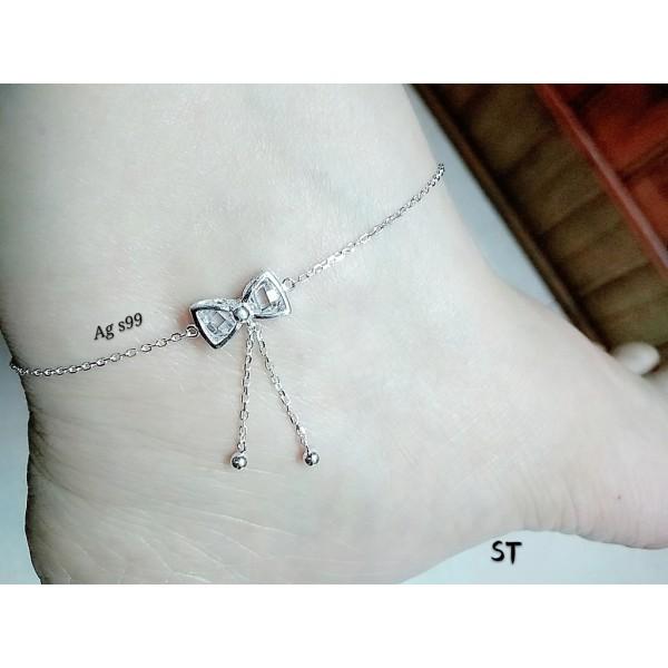 Lắc chân nữ thắt nơ bạc ý s99