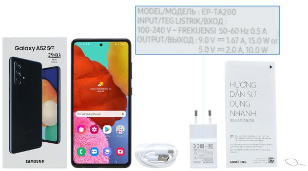 Điện thoại Samsung Galaxy A52 5G-hỗ trợ sạc nhanh 25 W
