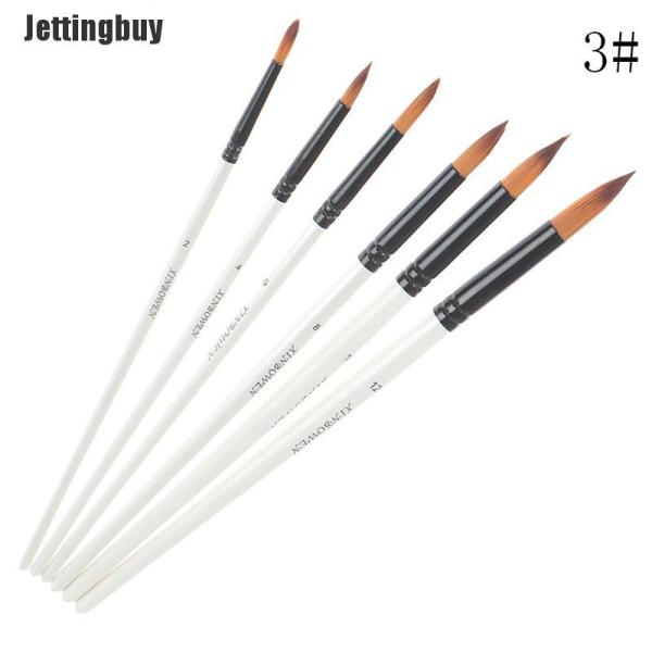Mua Jettingbuy 6 Cái Tóc Nylon Tay Cầm Bằng Gỗ Sơn Màu Nước Cọ Bút Đặt Cho Bức Tranh