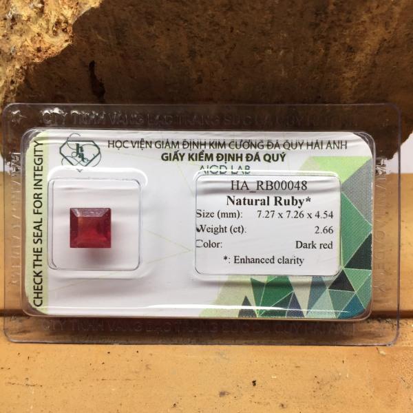 Mặt đá Ruby tự nhiên - 2.66ct - HA-RB00048 - Ép vỉ niêm phong