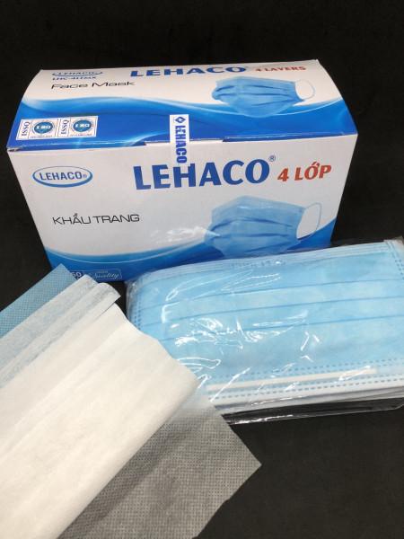 Khẩu trang y tế 4 lớp Lehaco Hộp 50 cái - vải không dệt kháng khuẩn (Đóng gói 5 bịt)