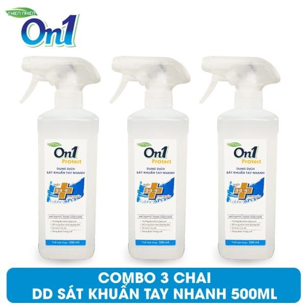 COMBO 3 Chai Dung Dịch Sát Khuẩn Tay Nhanh On1 Protect Hương BamBoo Charcoal 500ml C0202 (Mẫu mới 2021) giá rẻ
