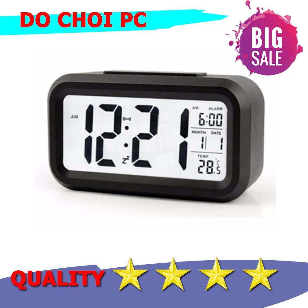 Đồng hồ báo thức kỹ thuật số với đèn LED nền cảm biến đa chức năng LC01 (Đen)
