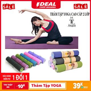 [ Loại Tốt ] Thảm tập YOGA, thảm tập GYM 1m8 x 60cm.yoga chống trượt tập thể dục tpe 2 lớp dày, - AHA Market thumbnail