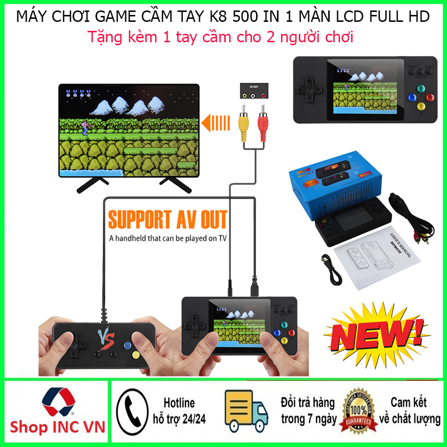 Máy chơi game cầm tay sup 400 trò tặng 100 trò chơi K8 cổ điển 9x hiện đại-Máy chơi game cầm tay mini retro gameboy 4 nút - máy gamer điện tử cầm tay sup PSP-Máy game 2 người chơi kết nối tivi- Đánh giá 5 sao (Màu đen)