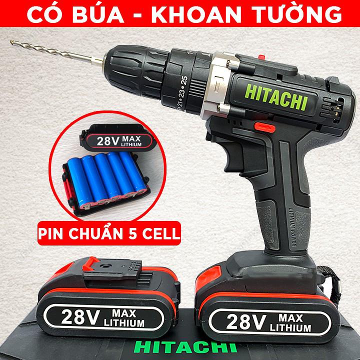 Máy Khoan Pin Hitachi 28V có Búa, Tặng mũi Khoan mẫu mới về