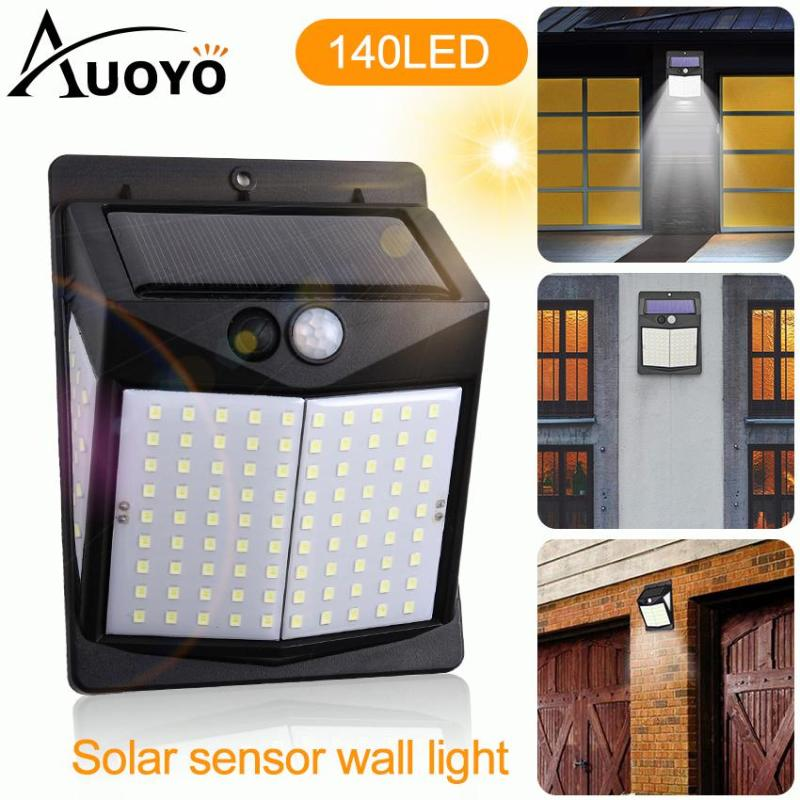Auoyo 140 LED Solar Light Outdoor Lighting PIR Motion Sensor Waterproof Garden Light with 270° Wide Angle Decoration Stair Pathway Yard Emergency Security Solar Lamp
