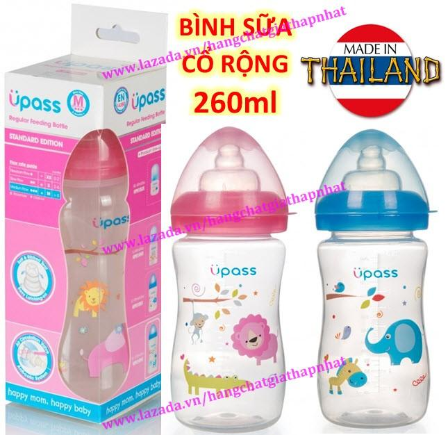 UPASS (Thái Lan) - Bình sữa cổ rộng 260ml không...