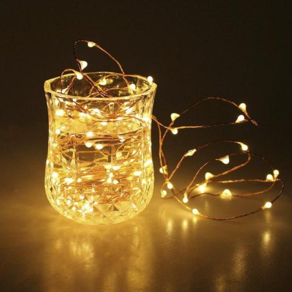 (TẶNG PIN DĨA) ĐÈN LED PIN 5 MÉT 50 BÓNG ĐOM ĐÓM CHIPSBLING FAIRY LIGHT MÀU VÀNG NẮNG