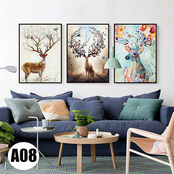 Bộ 3 bức tranh canvas hươu hiện đại