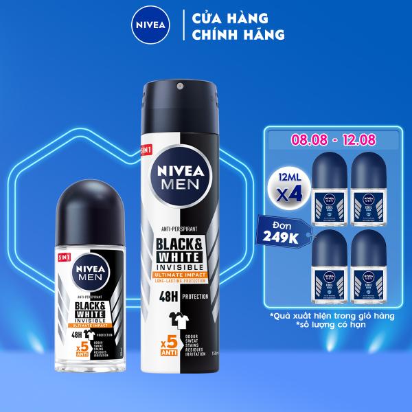 Bộ đôi Lăn Ngăn Mùi NIVEA MEN Black & White Ngăn Vệt Ố Vàng Vượt Trội 5in1 (50ml) - 85392 & Xịt Ngăn Mùi NIVEA MEN Black & White Ngăn Vệt Ố Vàng Vượt Trội 5in1 (150ml) - 85388 nhập khẩu