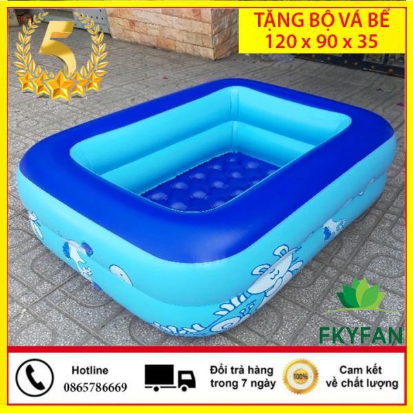 [CÓ CHỐNG TRƠN TRƯỢT] Bể bơi phao 2 tầng bể cho bé hình chữ nhật bể bơi trẻ em Size 120x85x35 cho bé - Hồ bơi cho trẻ 1,2m + Keo miếng vá bể - BBM2