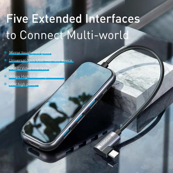 Bảng giá Hub chuyển đa năng Baseus Superlative Multifunctional 5 in 1 (Type-C to 3xUSB3.0+HDMI+PD) Phong Vũ