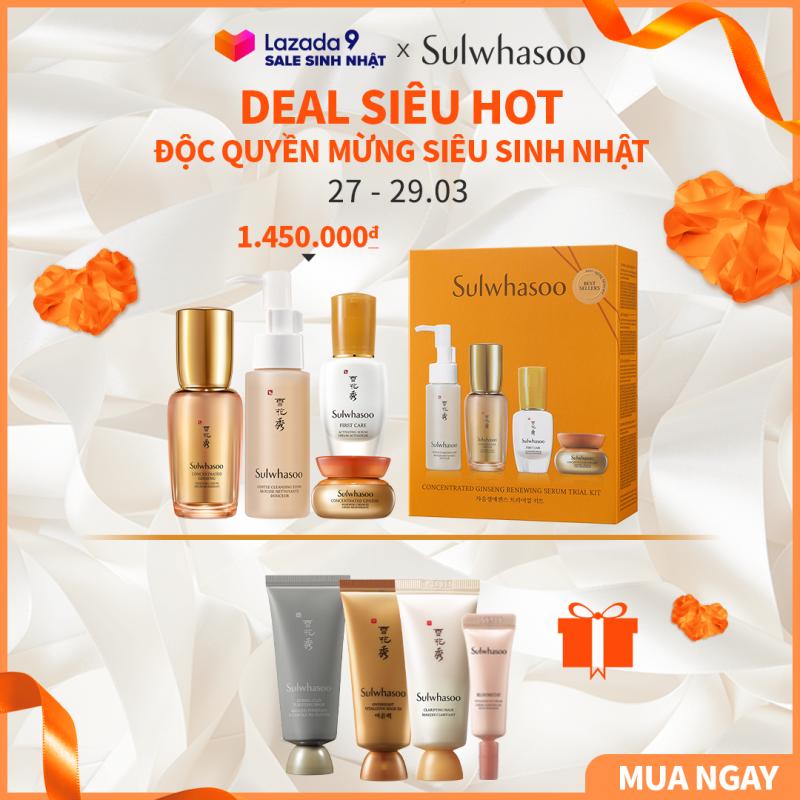 Bộ sản phẩm chống lão hóa từ nhân sâm cô đặc Sulwhasoo Concentrated Ginseng Renewing Trial Kit 4 items giá rẻ