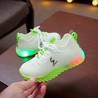 Giày Phát Sáng Ban Đêm Cho Trẻ Em Mới Giày Thể Thao Chạy Bộ Chữ Cho Bé Trai Bé Gái Giày Thường Ngày Giày Lưới Thể Thao Nữ Thời Trang Có Đèn LED