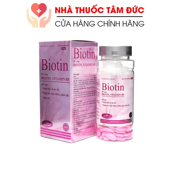 Viên uống bổ sung Biotin, Vitamin B5 giúp tóc chắc khỏe, giảm gãy rụng tóc, bảo vệ da tóc - Chai 60 viên giá rẻ