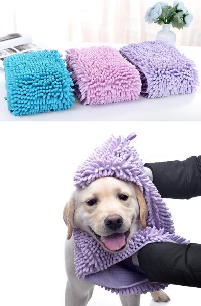 HCM- Chăm sóc chó mèo SIZE NHỎ (S) - Khăn tắm siêu thấm hút, dạng khăn bông lau mình chó sau khi tắm