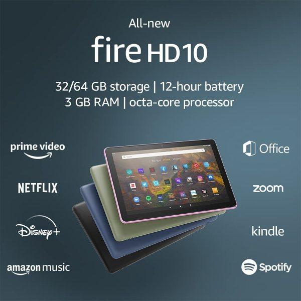 Máy tính bảng Fire hd 10 mới nhất năm 2021 bảo hành 1 năm tặng kèm kính cường lực xịn xò