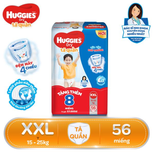 [Tặng thêm 8 miếng trong gói] Tã/bỉm quần Huggies Super Jumbo XXL56 - Gói 56 miếng (Cho bé 15kg - 25kg)