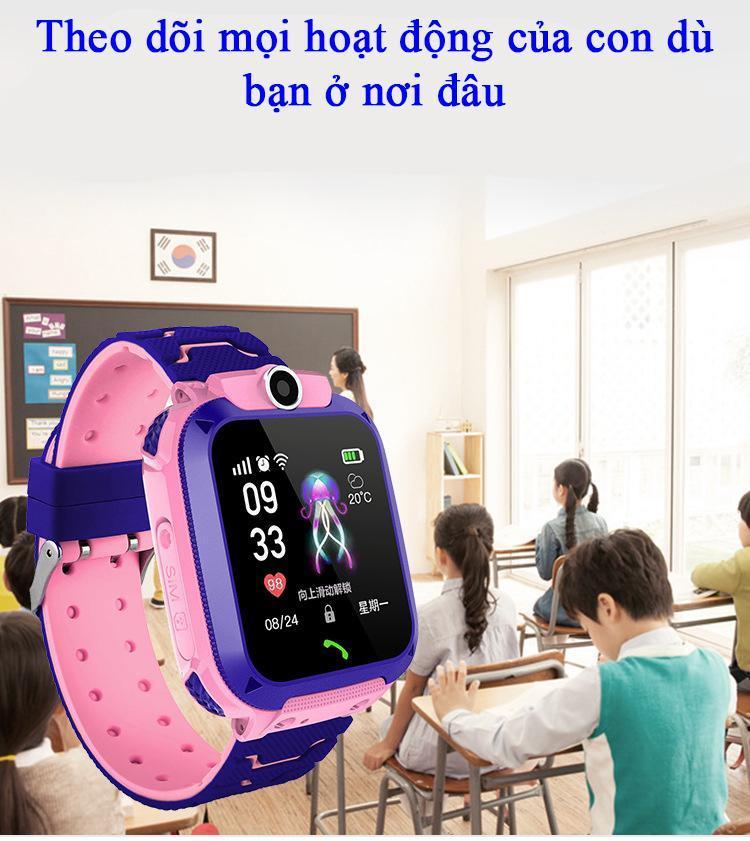 [HỮU ÍCH] Đồng hồ định vị trẻ em GPS A28 Chống nước IP67, 2 màu Xanh - Hồng, có Camera chụp ảnh từ xa, đồng hồ thông minh trẻ em chống nước bảo hành 1 đổi 1 tại Phụ kiện Khánh Linh