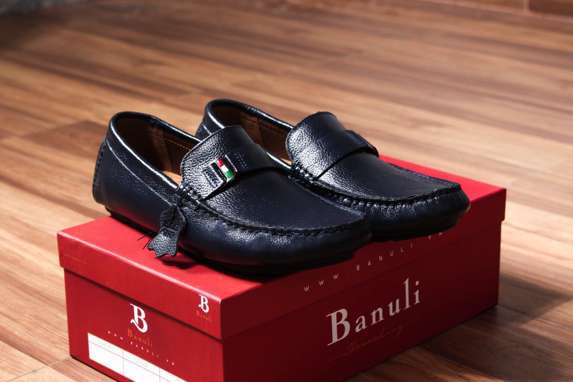 Giày nam cao cấp chính hãng BANULI, kiểu giày lười C4ML3T0 da bò thật đế cao su tự nhiên