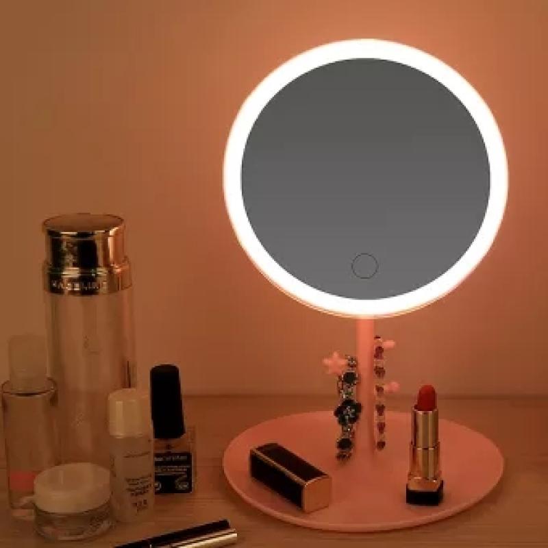 Gương Trang Điểm Để Bàn Tích Hợp Đèn LED Tích Điện Với 3 Chế Độ Sáng Và Tăng Giảm Được Độ Sáng Portable USB Makeup Mirror LEDadjustable Face Mirror Touch Dimming Table Mirror