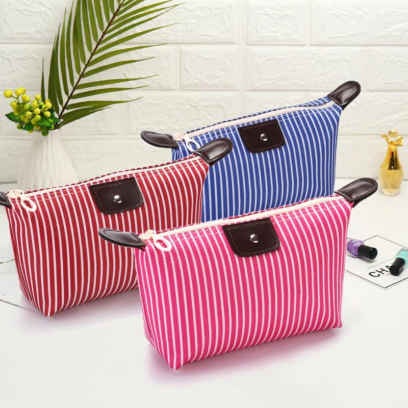 XPLUS - Túi đựng mỹ phẩm trang điểm kẻ sọc chống thấm túi mỹ phẩm cá nhân nhỏ gọn tiện lợi túi đựng mỹ phẩm XP-T021