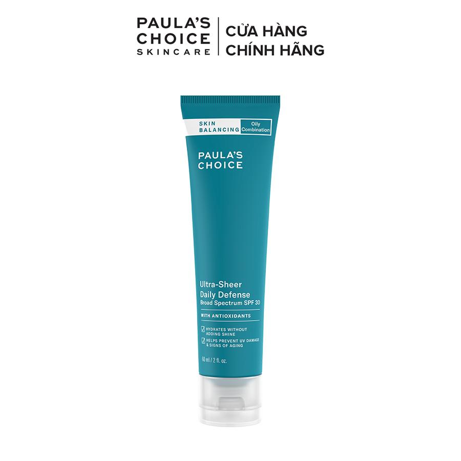 Kem chống nắng kèm dưỡng Bảo Vệ Và Cân Bằng tiết dầu Paula's Choice Skin Balancing Ultra - Sheer Daily Defence SPF 30 - 60ml