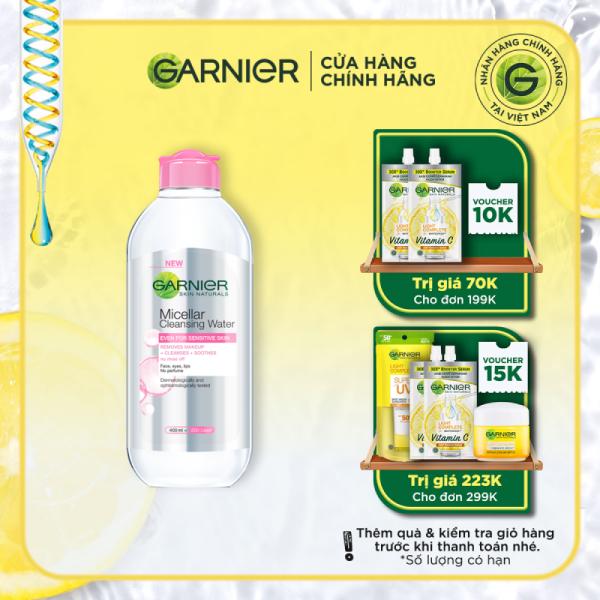 Nước làm sạch và tẩy trang cho da nhạy cảm Garnier Micellar Water 400ml