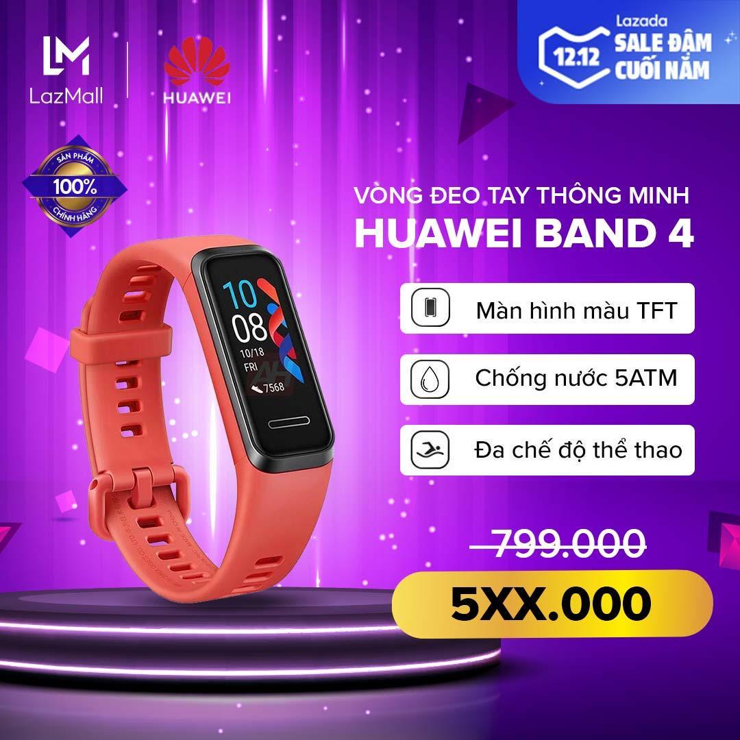 Mã Khuyến Mãi Khi Mua [HÀNG CHÍNH HÃNG - ĐỘC QUYỀN LAZADA] Vòng đeo Tay Thông Minh Huawei Band 4 - Màn Hình Màu TFT - TruSleep 2.0 - Chống Nước 5ATM - Đa Chế độ Thể Thao