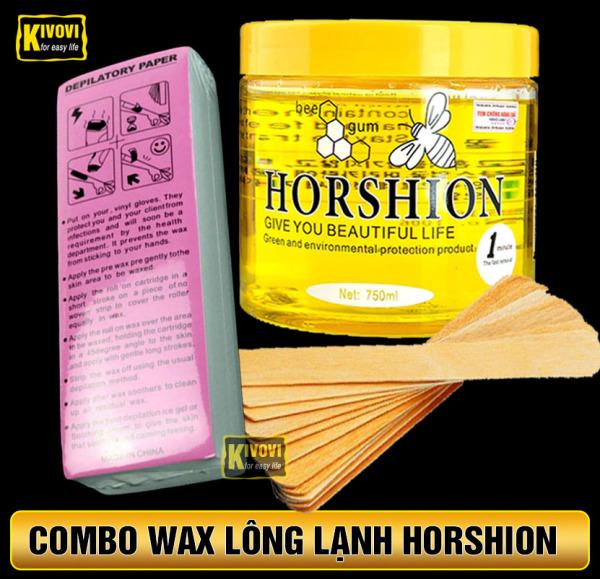 [COMBO] Gel Wax Lạnh Horshion Mật Ong + Miếng Giấy Wax 100 TỜ + Que wax lông - Tẩy Lông Lạnh Cho Chân Tay Nách Cơ Thể