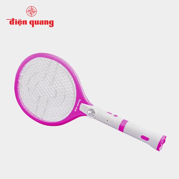 Bộ vợt muỗi Điện Quang ĐQ EMR05L WPI bao gồm đèn chiếu, có tác dụng vừa thu hút muỗi vừa để chiếu sáng trong đêm tối (Trắng - hồng)