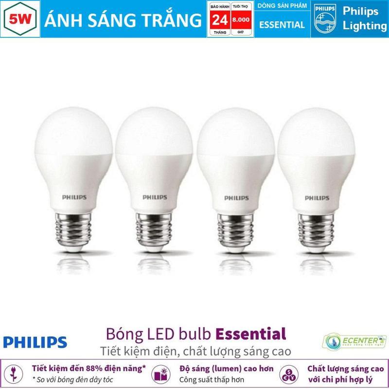 ( Bộ 4 ) Bóng LED Bulb Philips Essential 5W E27 ( Ánh sáng trắng & vàng )