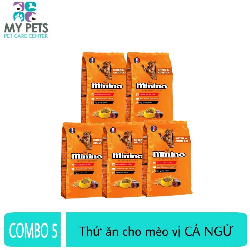 (COMBO 5) Thức ăn vị cá ngừ dành cho mèo mọi lứa tuổi - thức ăn cho mèo minino 480g