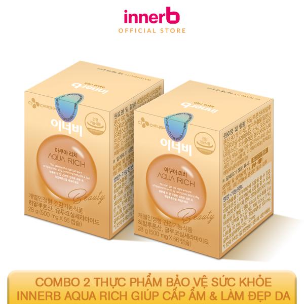 Combo 2 thực phẩm bảo vệ sức khỏe Innerb Aqua Rich giúp cấp ẩm & làm đẹp da lọ (56 viênx2)