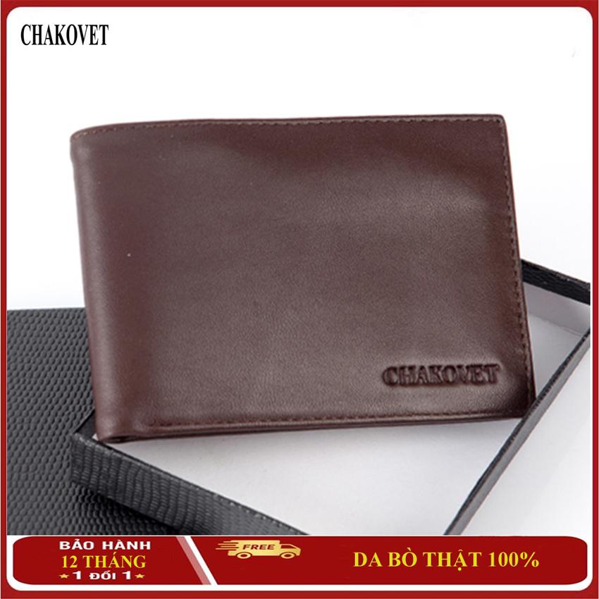 Bóp ví nam da bò thật Chakovet CKV222 cao cấp, dáng ngang có nhiều ngăn đựng tiền và thẻ có ngăn khóa kéo tiện dụng, Sang trọng lịch lãm