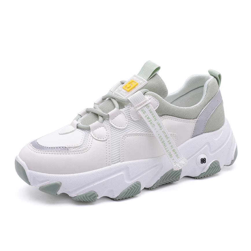Giày thể thao nữ F5 có 3 màu trắng đen, xám, xanh, chất da phối lưới cao cấp, đế độn cao 5 cm tôn dáng, phong cách hàn quốc dễ phối đồ giá rẻ