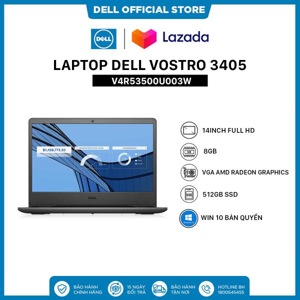 [TRẢ GÓP 0%_FREESHIP]Laptop Dell Vostro 3405 (V4R53500U003W) AMD Ryzen R5-3500U  14inch FullHD  Ram 8GB DDR4  512GB SSD  VGA AMD Radeon Graphics  Win 10 Bản Quyền