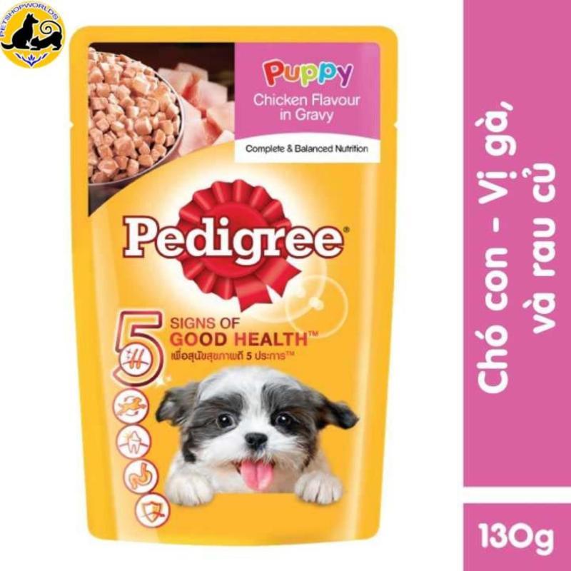 Thức ăn chó con Pedigree vị gà rau củ 130g