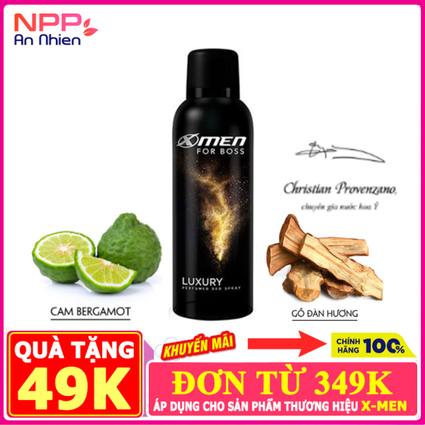 Xịt khử mùi X-Men For Boss Luxury 150ml - Mùi hương sang trọng tinh tế- NPP AN NHIÊN