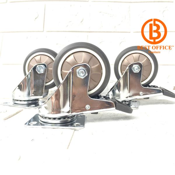 Combo 4 Bánh xe đẩy hàng lốp cao su cao cấp [2 bánh xoay và 2 bánh xoay có khóa] chịu tải cao loại 7.5cm  - Di chuyển đa mặt sàn - Chịu tải cao