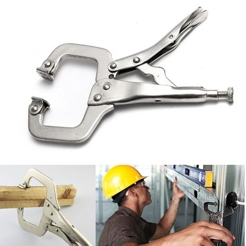 Tool Pad Wood Clamp Clip Fix Tenon Work Woodwork Jaw Vise Locator Hand Lock Tong weld Steel C Swivel Grip Plier Alloy Pincer tốt