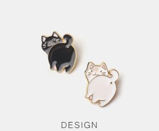 Phim hoạt hình dễ thương Nhật Bản mèo đen và trắng trâm cặp đôi phụ kiện quần áo huy hiệu Harajuku thumbnail